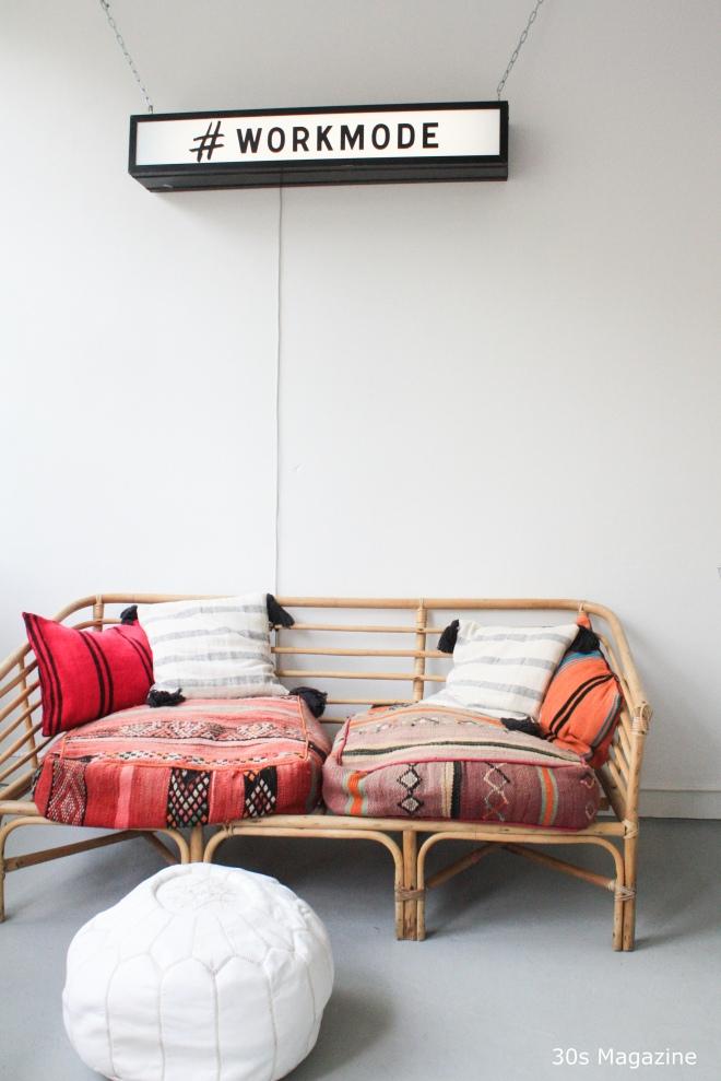 rattan bench bohemian style